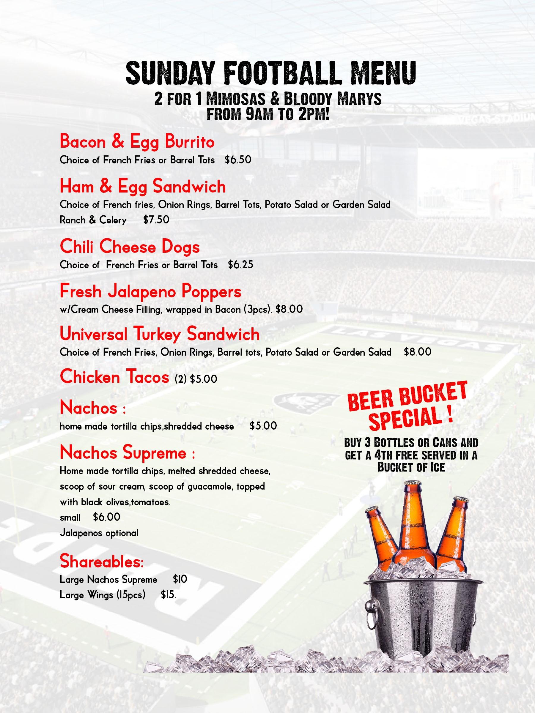 Football Brunch Menu